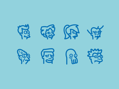 futurama outline line fun cartoons cartoon character characters animation futurama logo ux web icon design ui vector