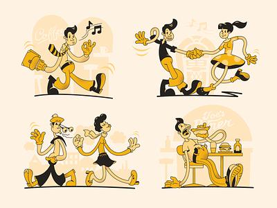 old school illustrations rubber hose retro old school sepia interface cartoon looney ux illustration design web ui vector