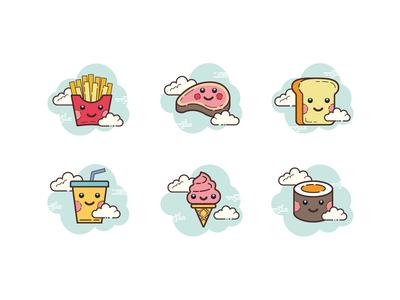 Cloud icons: kawaii food
