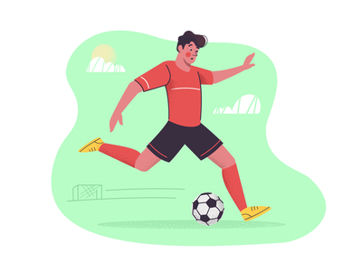 Football player field stadium goal ball player football sport artwork art illustration vector design