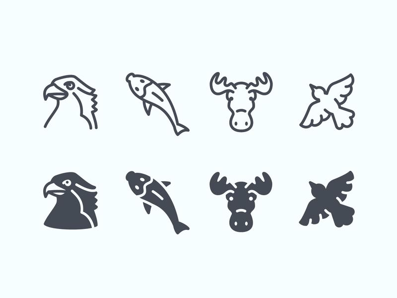 Wildlife ios icons line art icon design ui ios wildlife osprey moose bird fish animals icons vector illustration design