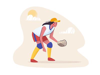 Softball player catching catcher web play girl softball sport ui vector artwork design illustration