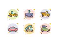 Transport in bubbles icons