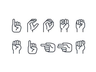 Sign language ios icons landing cipher illustration mute dumb sign gesture sign language icon art web ui artwork vector design