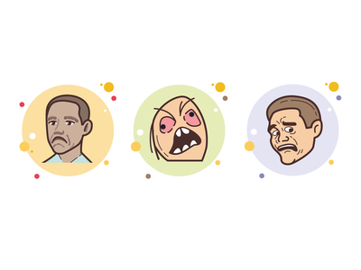bubbles memes obama scared face angry face not bad meme man people icon art web ui artwork illustration vector design