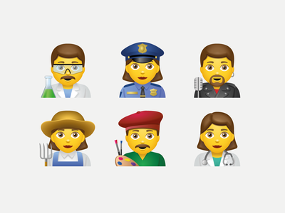 Emoji people part3 artist doctor policeman scientist farmer singer emotions emoji woman man girl people icon art web ui artwork illustration vector design