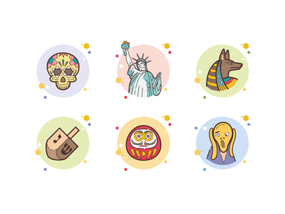 Сulture icons dreidel anubis daruma day of the dead statue of liberty edvard munch bubble country holidays different culture icon art web ui illustration artwork vector design