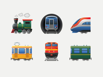 Emoji transport metro car tram subway locomotive railway train emoji icon art web ui illustration artwork vector design