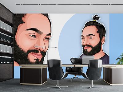 Cartoon portrait wall mascot logo portrait vector portrait vector character cartoon cartoon portrait digital painting caricature illustration