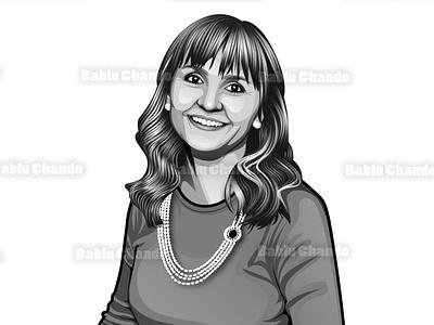 Black and White Cartoon Portrait vector portrait character cartoon caricature illustration mascot logo cartoon portrait digital painting vector portrait