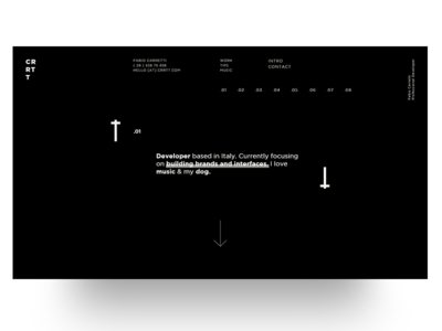 Home Large CRRTT developer portfolio arrow typo black minimal