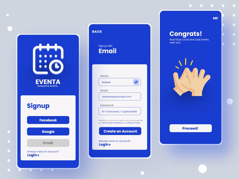 Event App UI UX design illustration ui design application mobile ui product design concept signup user experience user interface mockup event app ui ux