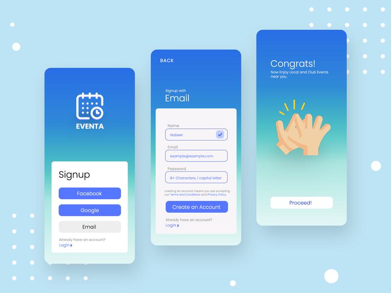 Event App - Login/Signup Page event app uxdesign user interface design product design ux ui design user experience event design concept application mobile ui app