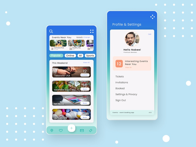 Event App - Home & Settings page cool design settings ui profile page settings page uxdesign event app user experience ui design product design app application concept design event mobile ui branding ui