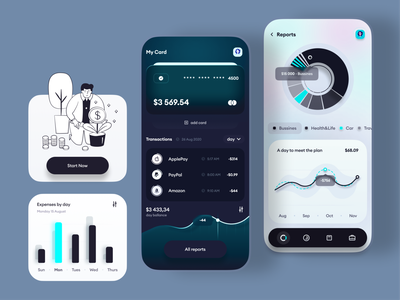 Banking & Finance App web coins graphic change banking bank card finance app finance bank app bank ios app 2020 trend minimal flat ux ui ios application design app
