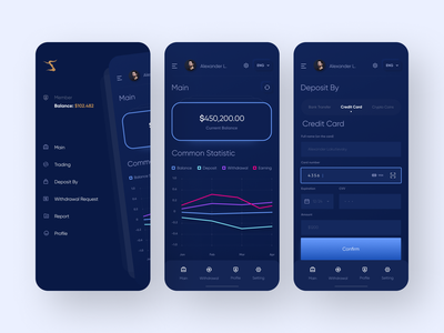 Finance and Investment App ios app mobile animation ux ios ui application ui mobile ui appdesigner appdesign web design application app 2020 trend