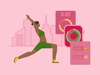 Smart Yoga - vector illustration in Urban Style technology smartwatch yoga fitness flat illustration vector