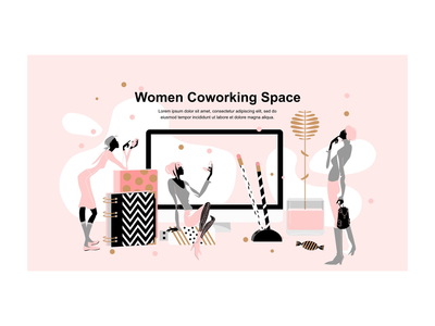 Landing page: Feminine illustration for modern Coworking Space