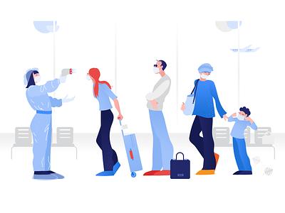 Clip Style: Vector Illustration epidemia security web illustration airport coronavirus minimal illustration flat vector