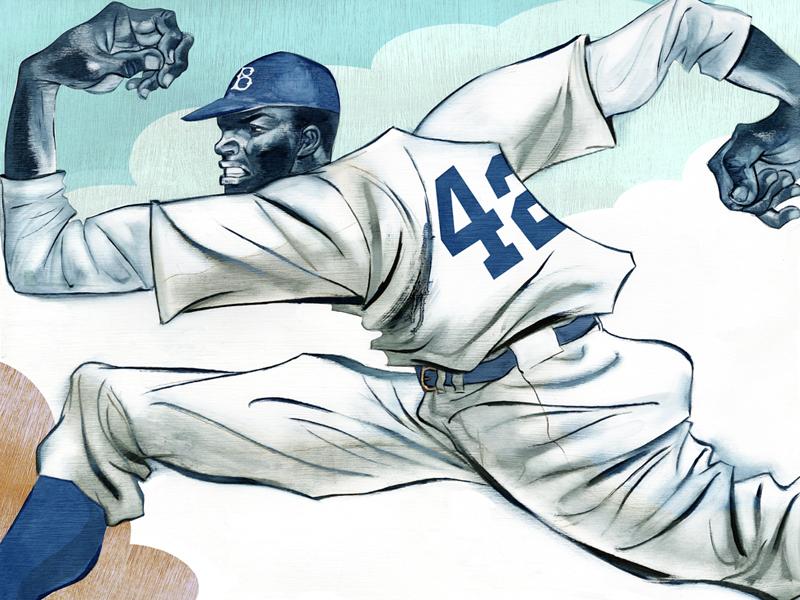 Jackie Robinson joe morse illustration books art sports baseball brooklyn dodgers jackie robinson