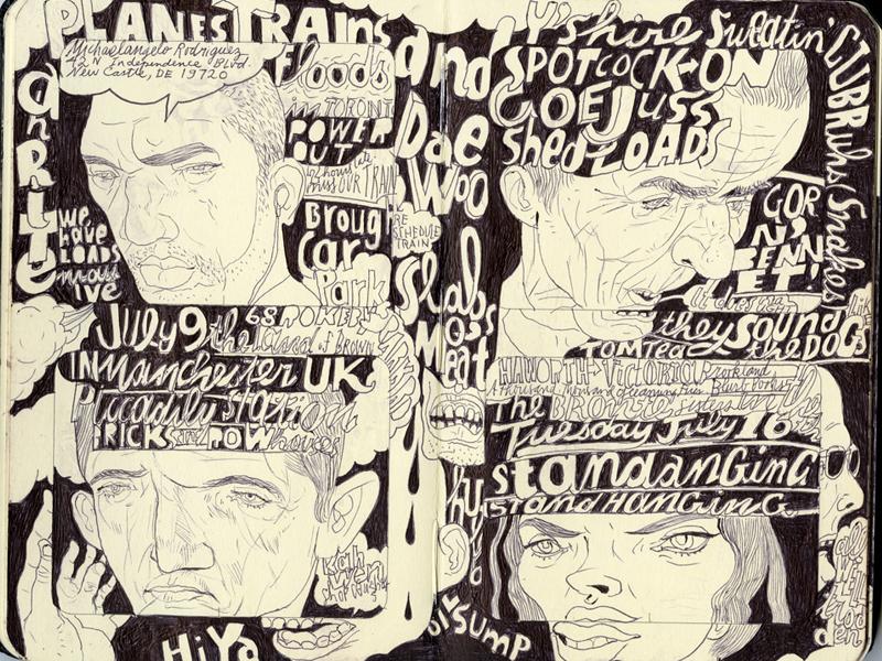 England Day 1 hand drawn text graphic people titles joe morse illustration
