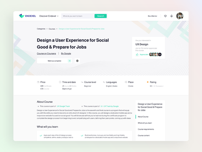 Course details page for E-learning hub course provider page course details hub track e-learning course learning app ui design ux uiux ui design