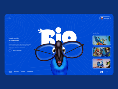 Rio Movie Landing Page branding minimal web illustration typography webdesign uiux ui  ux uidesign designer design