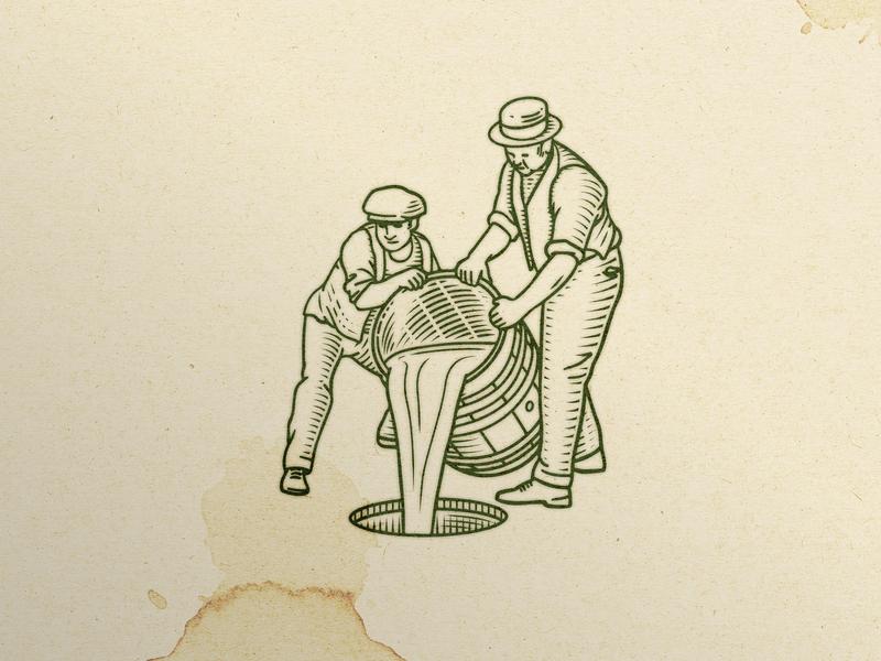 American Prohibition illustrator photoshop 1920s 20s brand illustration branding concept beer brand beer barrel barrel vintage illustration vintage illustration beer prohibition