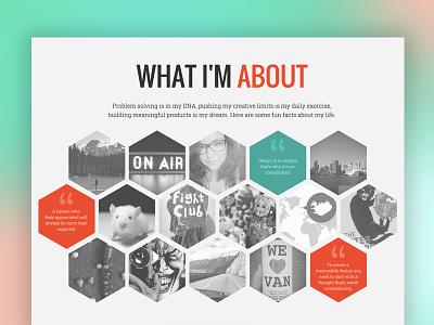 Creative Portfolio 2015 - About me section portfolio website minimal flat clean hexagon design hexagon about me