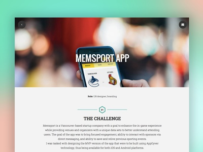Project page from my portfolio app design mobile project responsive flat minimal portfolio