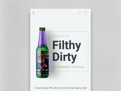 Brewster App Filthy Dirty grays minimal local app screen mobile app beer