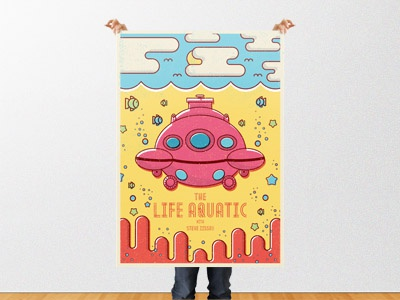 Life Aquatic With Steve Zissou Poster color illustration submarine movie poster