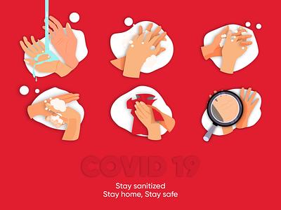COVID 19 POST - Stay sanitized poster covid 19 covid-19 covid19 illustrator design