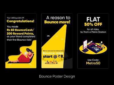 Bounce poster design (Text management) bounceshare marketing creatives ui illustrator illustration textheavy posterdesign design poster type