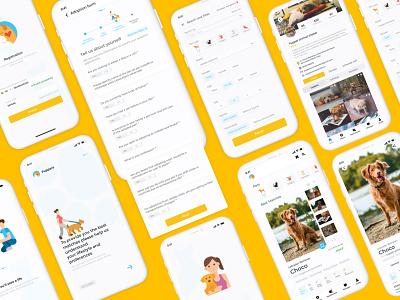Pet adoption app illustration dog adoption petadoption uiux uxdesign uidesign