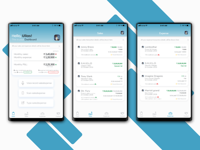 Sales expense tracking app ui