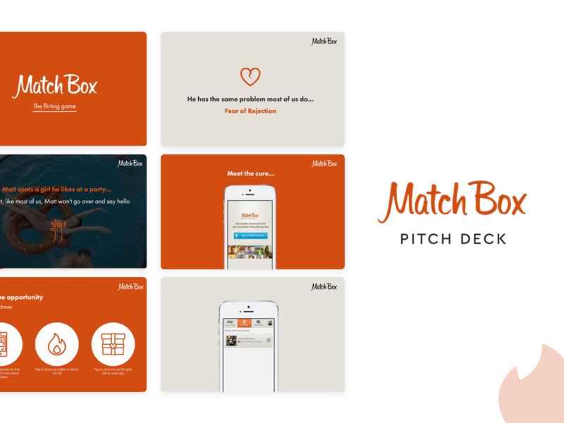 Match Box (Tinder) Pitch Deck Template presentation templates presentation template slidebean design tinder presentation design presentation pitch deck deck pitchdeck pitch match box matchbox