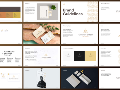 Golden Seed Fats & Oil Brand Guidelines seed gold oil palm brand identity brand guide brand book branding logo