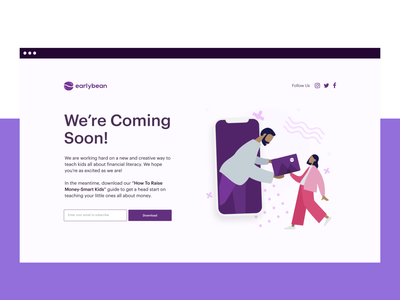 Earlybean Coming Soon page bank app bank creative illustration ux ui