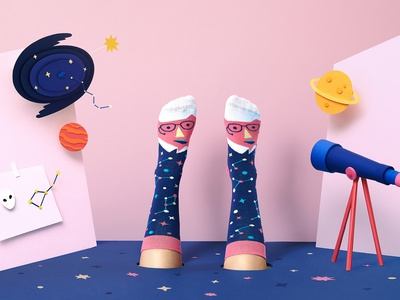 Chatty Feet: Stephen Toeking product design science textiles socks illustration fashion design characterart character