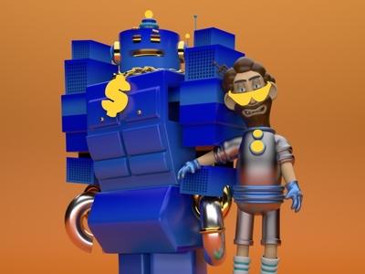 RobotMan motion cinema 4d colors art direction desing 3d art cinema4d 3d art 4d