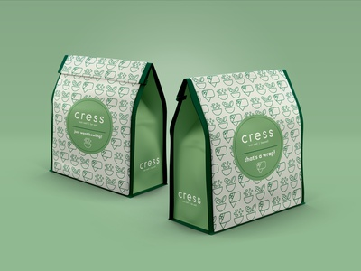 Cress To-Go Bags art direction wraps salad tampa flordia restaurant branding restaurant icon design icon brand design branding packaging design package design packagedesign packaging