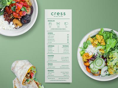 Cress Menu graphic design st pete visual design print design healthy eating healthy menu food menu restaurant salad bar salad cress armature works florida design branding tampa