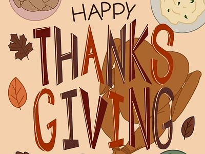 Happy Thanksgiving! procreate turkey day turkey hand lettering illustration thanksgiving