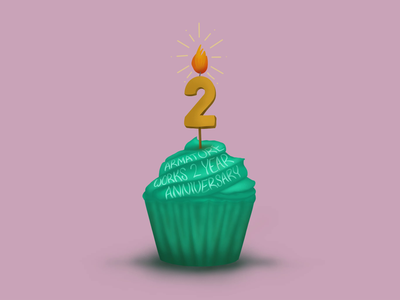 Armature Works 2 Year Anniversary Social Graphic armatureworks armature works anniversary cupcake procreate 5 procreate5 hand lettering animation animated gif tampa illustration procreate