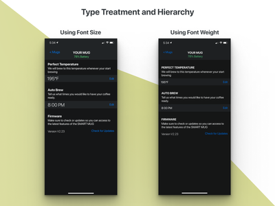 Font Weight vs. Font Size typography settings page visual design