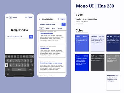 Mono UI    Hue 230 search engine visual design design typography composition ui monochrome