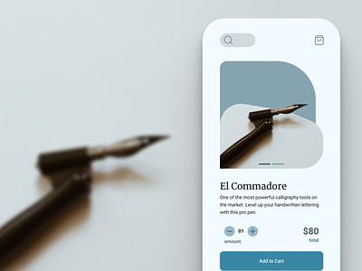 Fountain Pens E-Commerce Concept ecom ui composition visual design premium sharp elegant