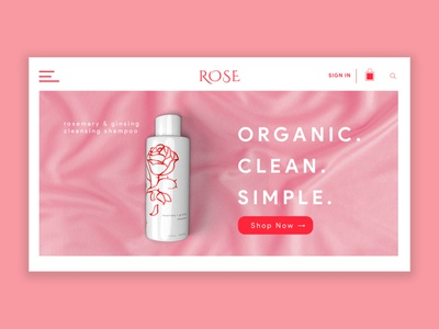 Rose Bath and Body Minimalist Web Design illustration typography webdesign ui design
