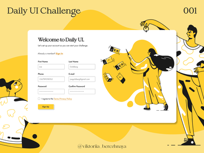 Daily UI Sign Up Page web signup 001 dailyui ui design